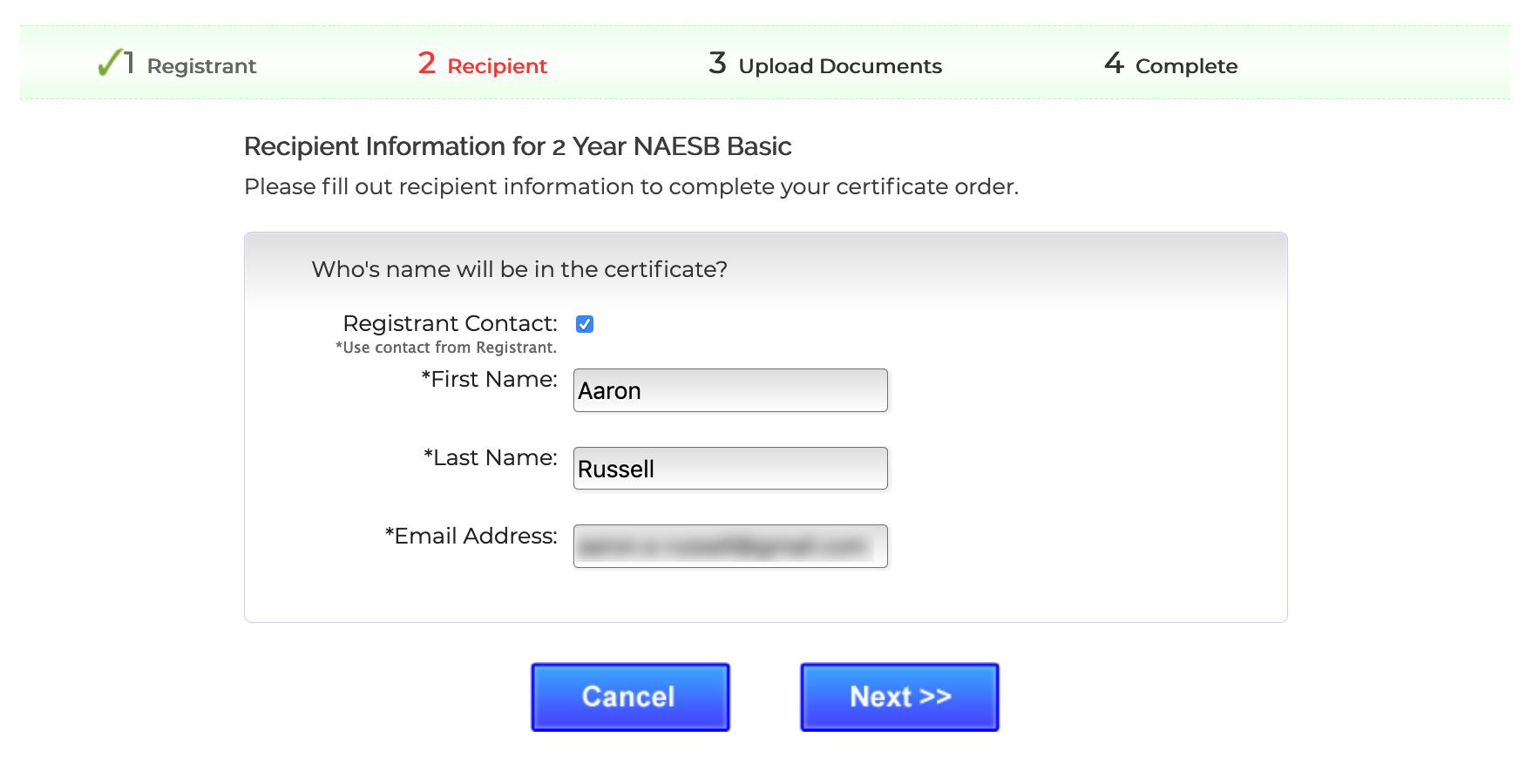 Enter recipient