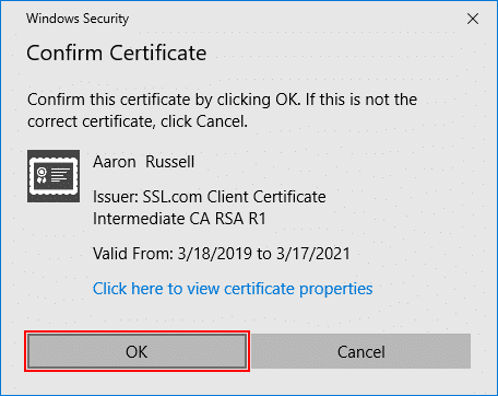 Confirm Certificate