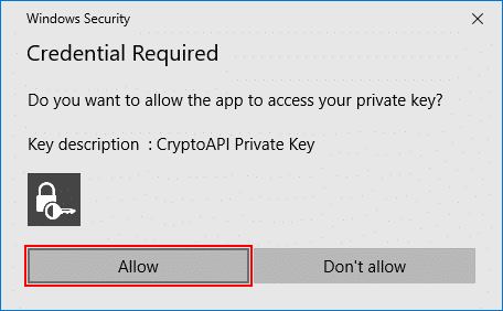 Security dialog box