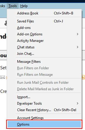 Tools >> Options