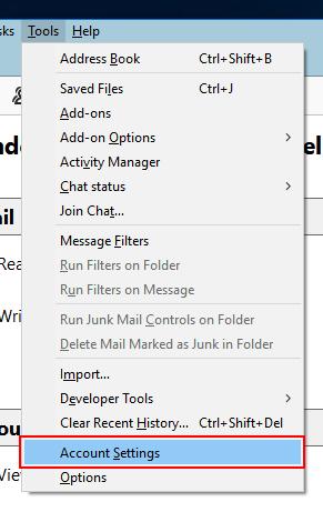 Tools >> Account Settings