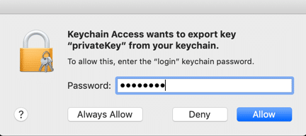 Enter keychain password