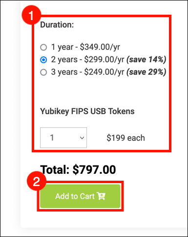 select duration and YubiKeys