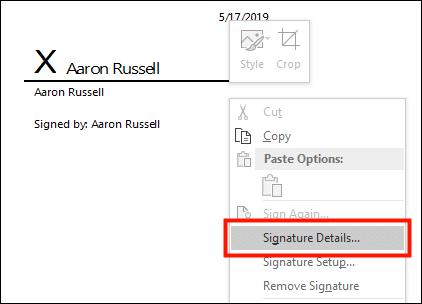 Signature Details...