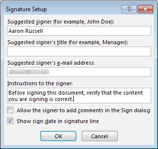 Signature Setup