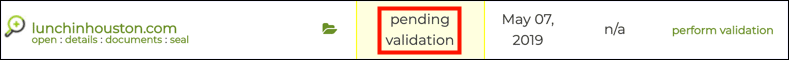 pending validation