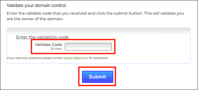 Enter validation code