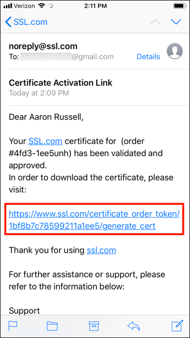 Certificate Activation Link