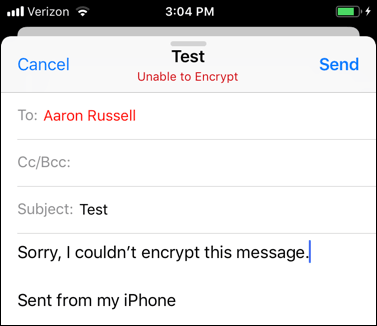 Unencrypted message
