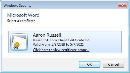 Signing certificates