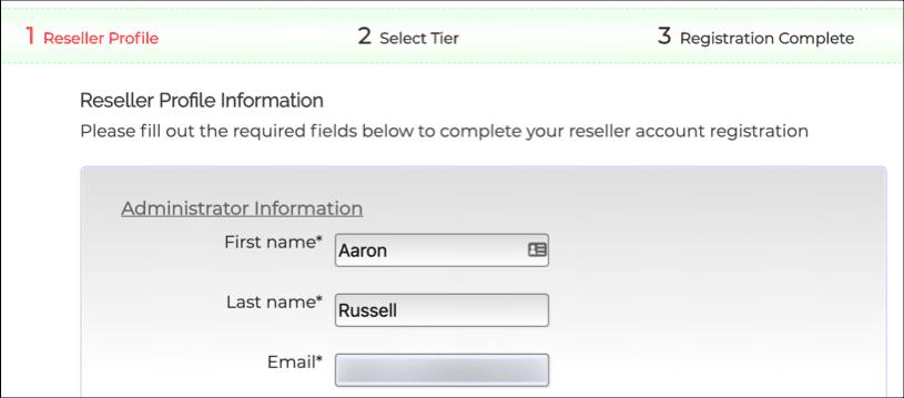 Reseller Profile Information