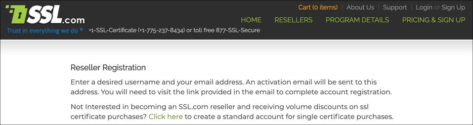 Reseller registration page