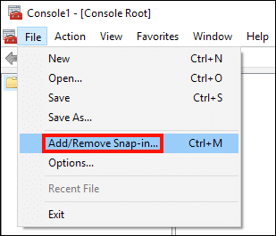 File > Add/Remove Snap-in...