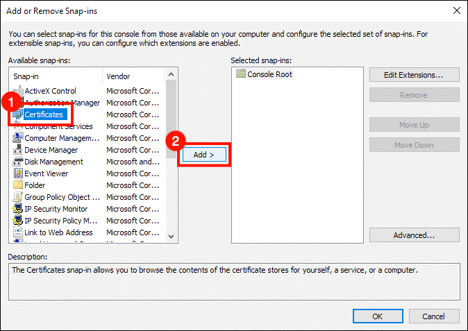 Select Certificates, then click Add button