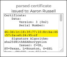 Parsed certificate
