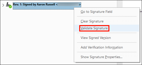 Validate signature