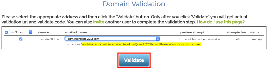 Validate button