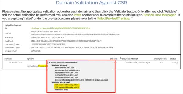 select HTTP CSR hash file
