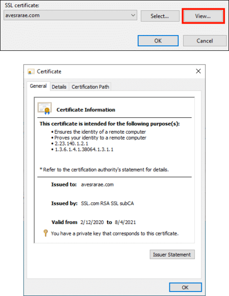 View certificate details