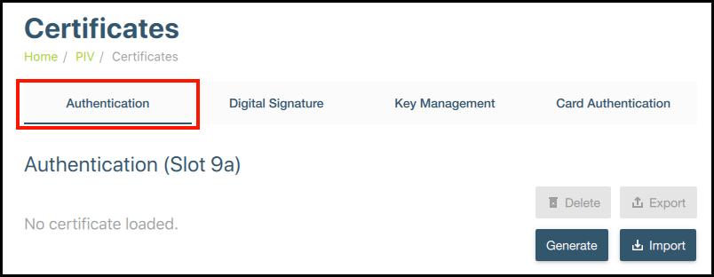 Authentication (slot 9a)