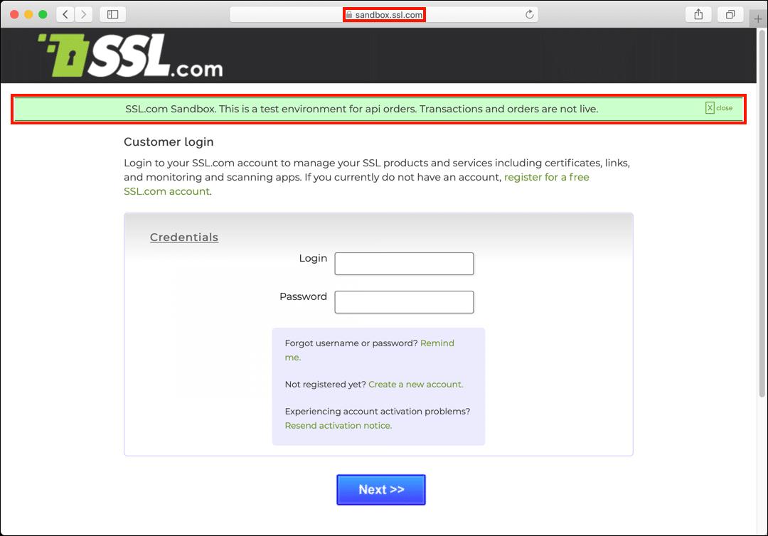 Sandbox login page