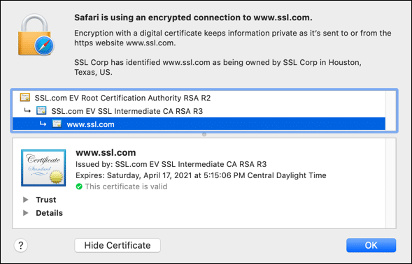 Certificate information (Safari)