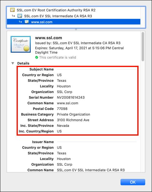 Certificate details