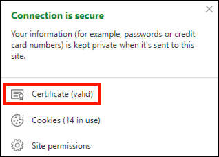 Certificate info from DV website