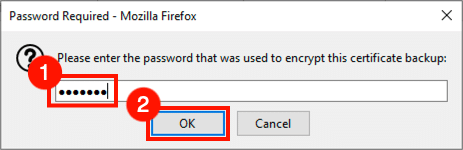 Enter password for PFX file