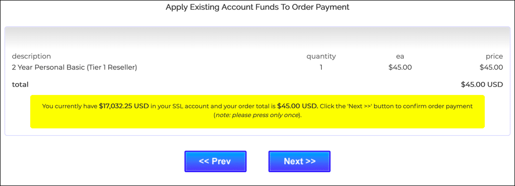 Apply existing account funds
