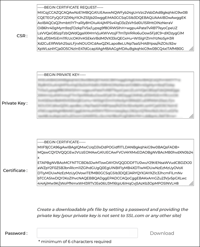 CSR, Private Key, and Certificate