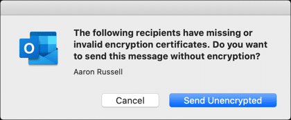 Missing encryption certificate