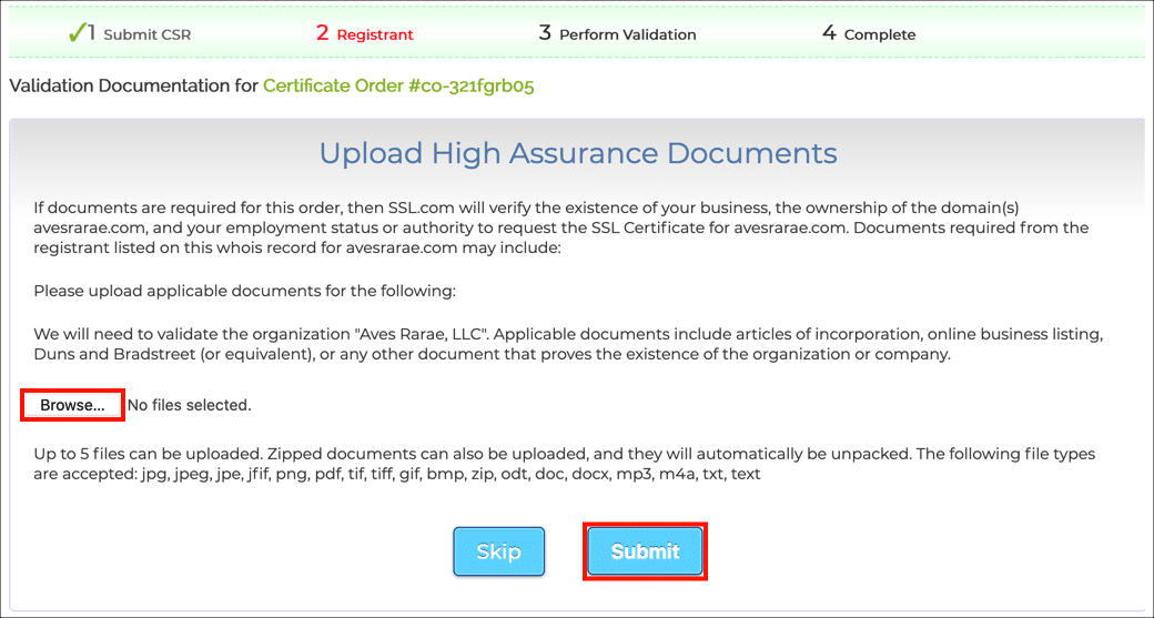 Browse for files and submit them.