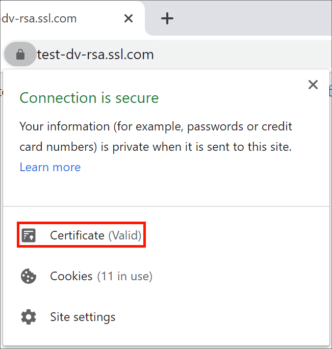 DV Certificate in Web Browser