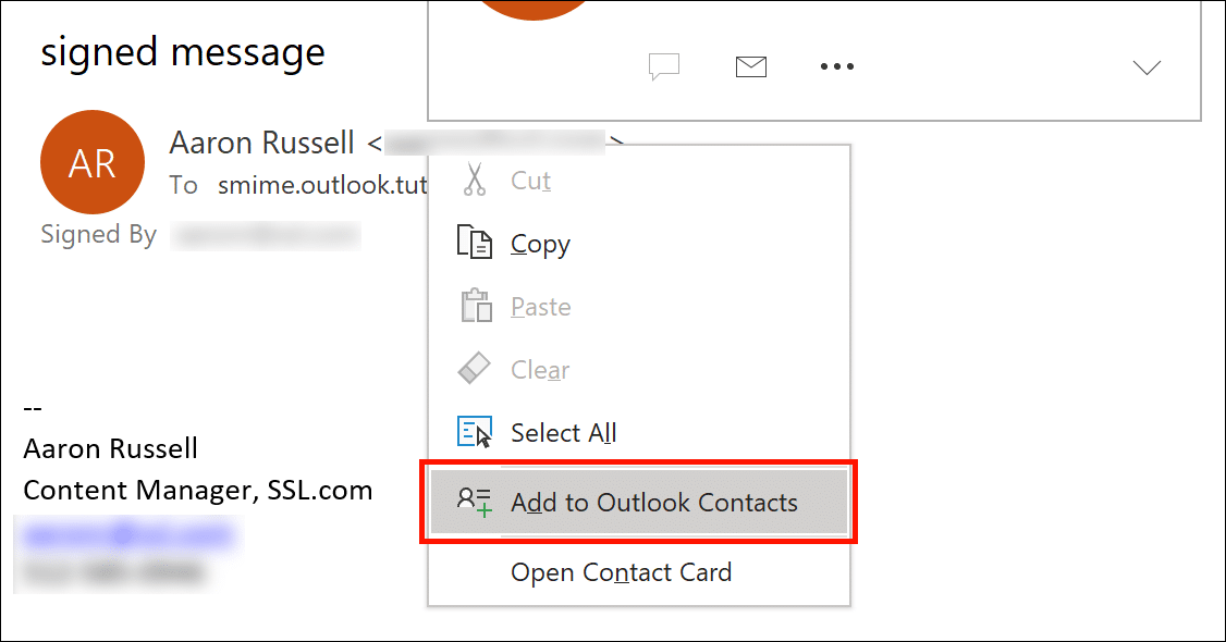 Add to Outlook Contacts