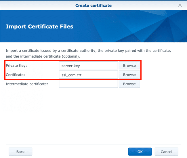 Upload private key and certificate