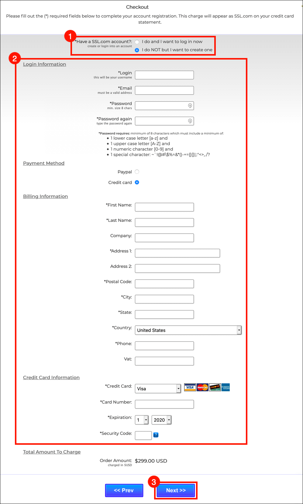 Create SSL.com account