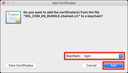 Add certificates to login keychain