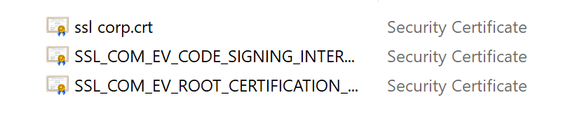 certificate files