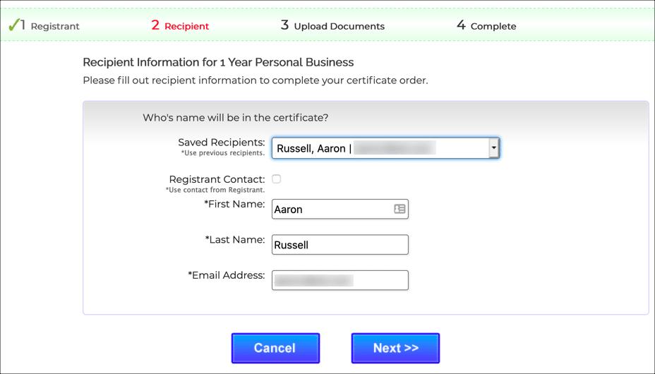recipient information