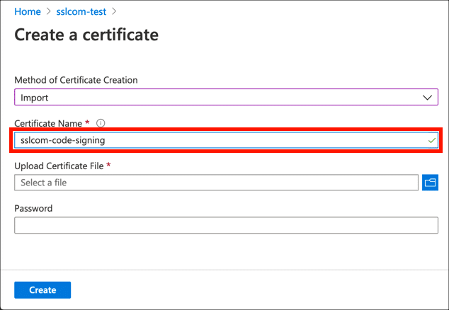 Enter certificate name