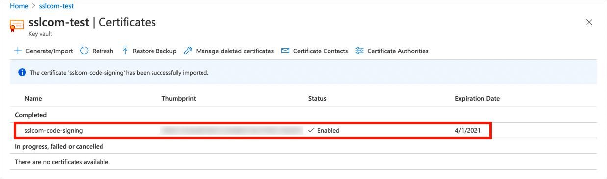 Certificate in key vault
