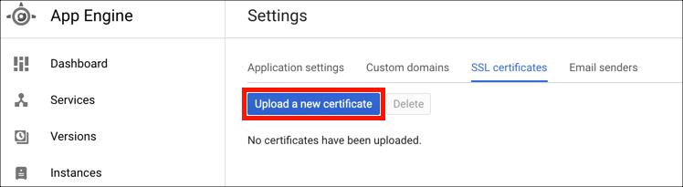 Upload certificate button