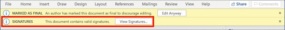 Document contains valid signatures