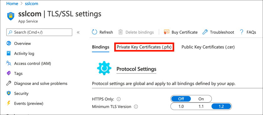 Private Key Certificates (.pfx)