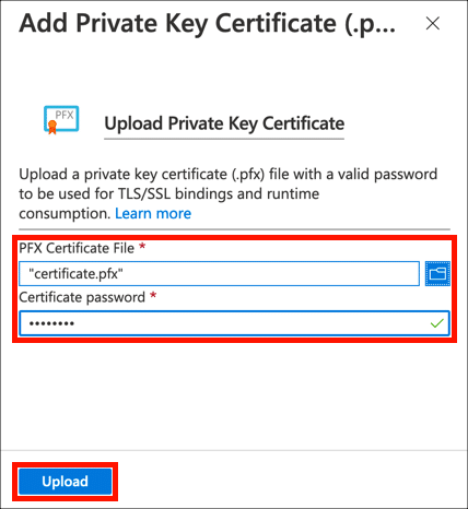Upload certificate