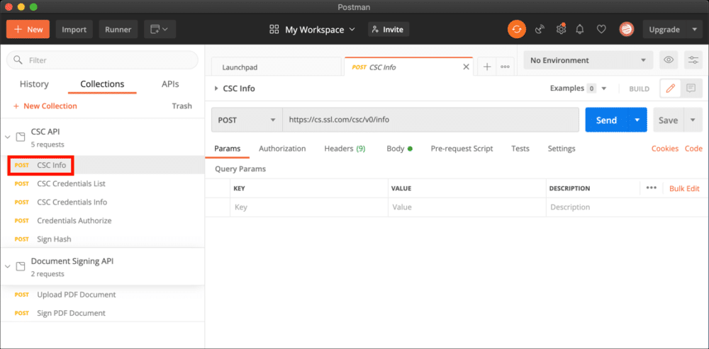 select API request