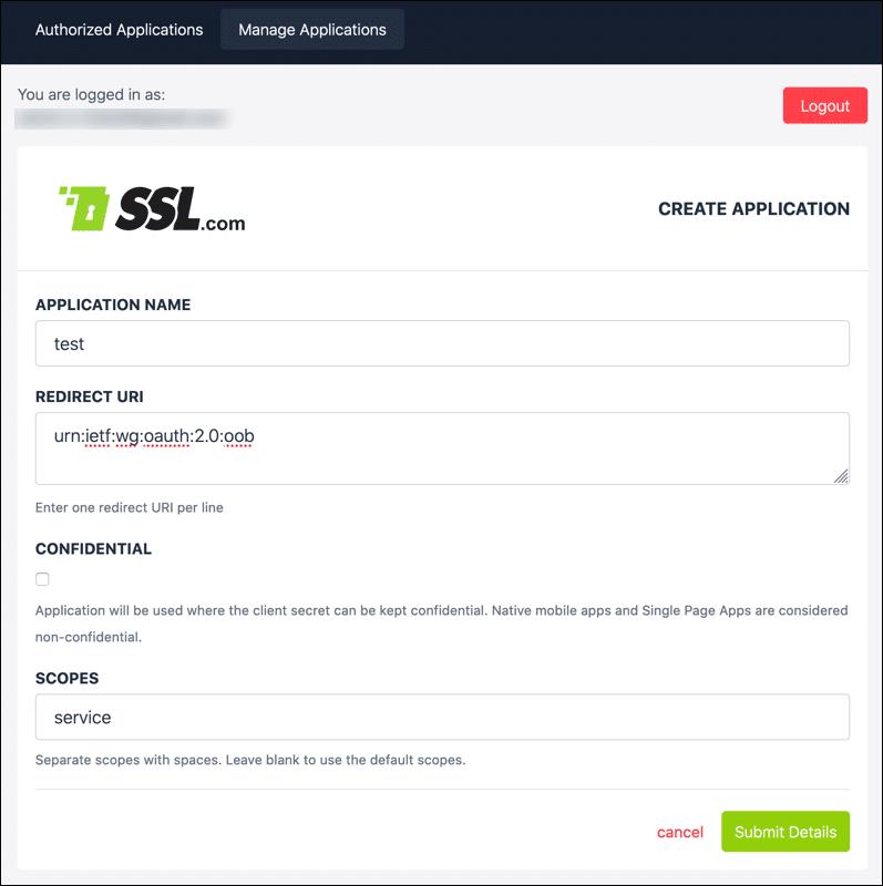 Create Application form