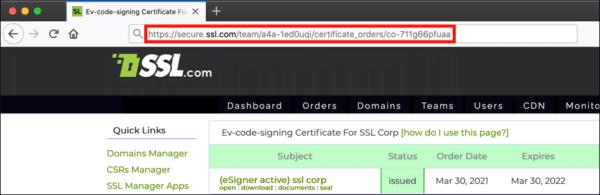 certificate order URL
