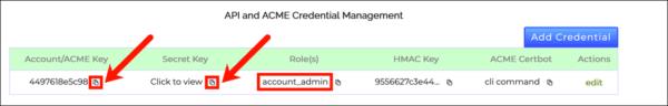 Account/ACME key and secret key